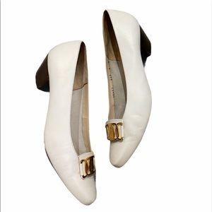 🔥SALE S.Ferragamo white heel gold accent pumps